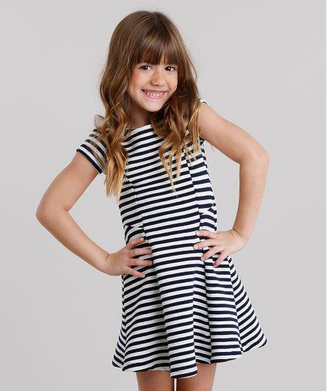 31c181edf0 Vestido-Infantil-Texturizado-Listrado-Evase-Manga-Curta-Decote- ...