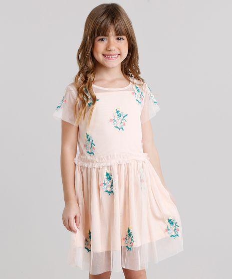 Vestido-Infantil-em-Tule-Bordado-Floral-Manga-Curta-Decote-Redondo-Rose-8690745-Rose_1