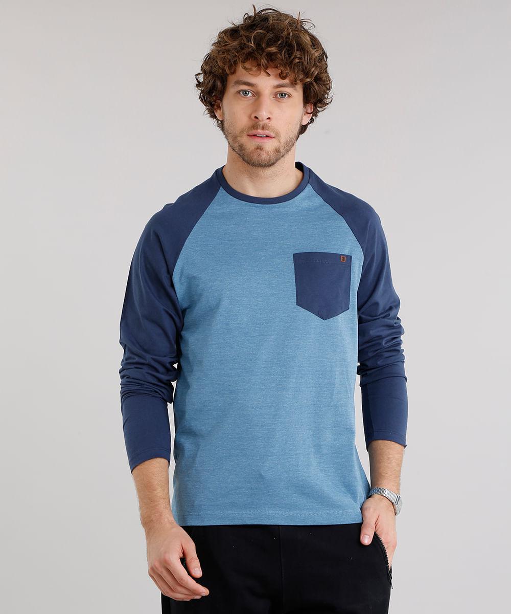 23d8246d73c23 Camiseta Masculina Raglan com Bolso Manga Longa Gola Careca Azul ...
