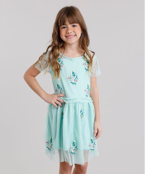 05a7c9160 Vestido Infantil em Tule Bordado Floral Manga Curta Decote Redondo ...