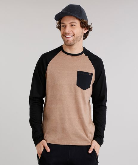Camiseta-Masculina-Raglan-com-Bolso-Manga-Longa-Gola-Careca-Caramelo-9120518-Caramelo_1