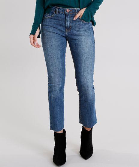 Calca-Jeans-Feminina-Cropped-Reta-com-Barra-Desfiada-Cintura-Alta-Azul-Escuro-9116259-Azul_Escuro_1