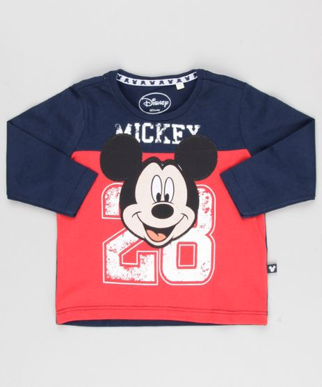 Camiseta-Infantil-Mickey-Mouse-Manga-Longa-Gola-Redonda-em-Algodao---Sustentavel-Azul-Marinho-8647268-Azul_Marinho_1