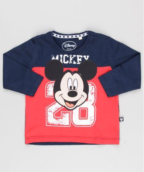 1a0f4318ef Camiseta Infantil Mickey Mouse Manga Longa Gola Redonda Azul Marinho ...