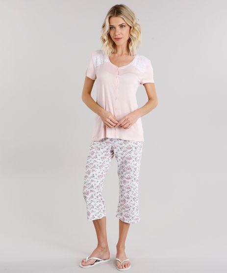 Pijama-Feminino-com-Estampa-Floral-Manga-Curta-com-Renda-e-Botoes-Rose-9130505-Rose_1