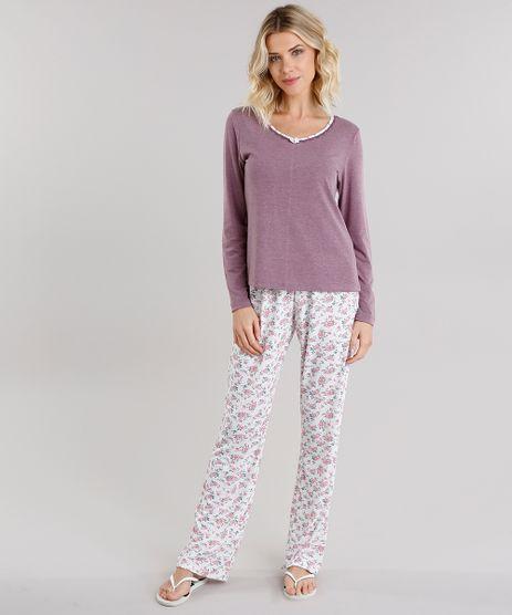 Pijama-Feminino-com-Estampa-Floral-Manga-Longa-Vinho-9134571-Vinho_1