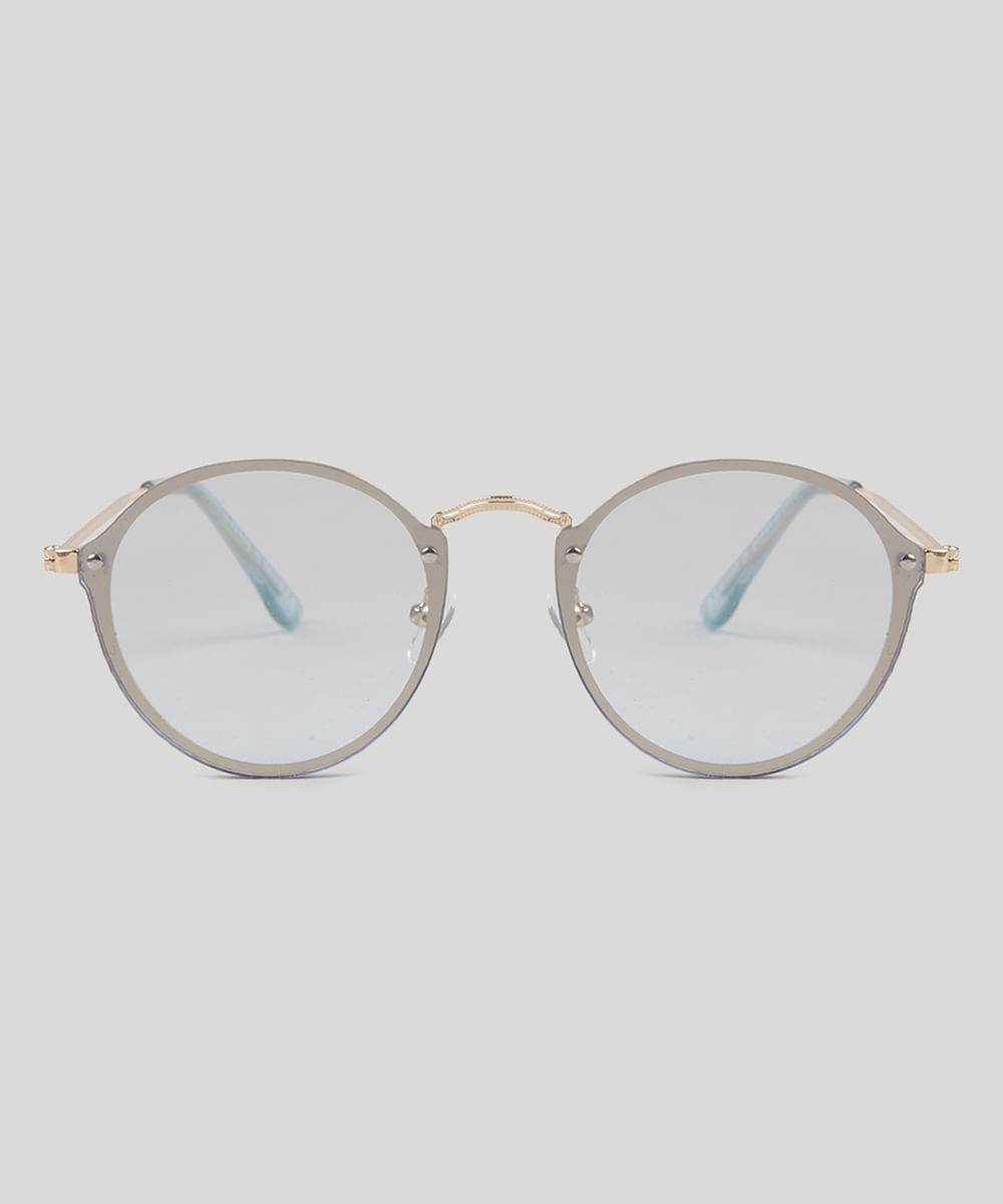 Óculos de Sol Redondo Feminino Oneself Azul Claro - ceacollections 6f7b0bde39