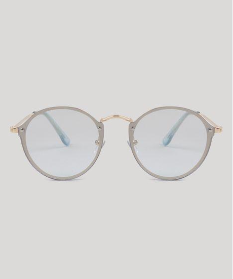 382cb8a95 Óculos de Sol Redondo Feminino Oneself Azul Claro - cea