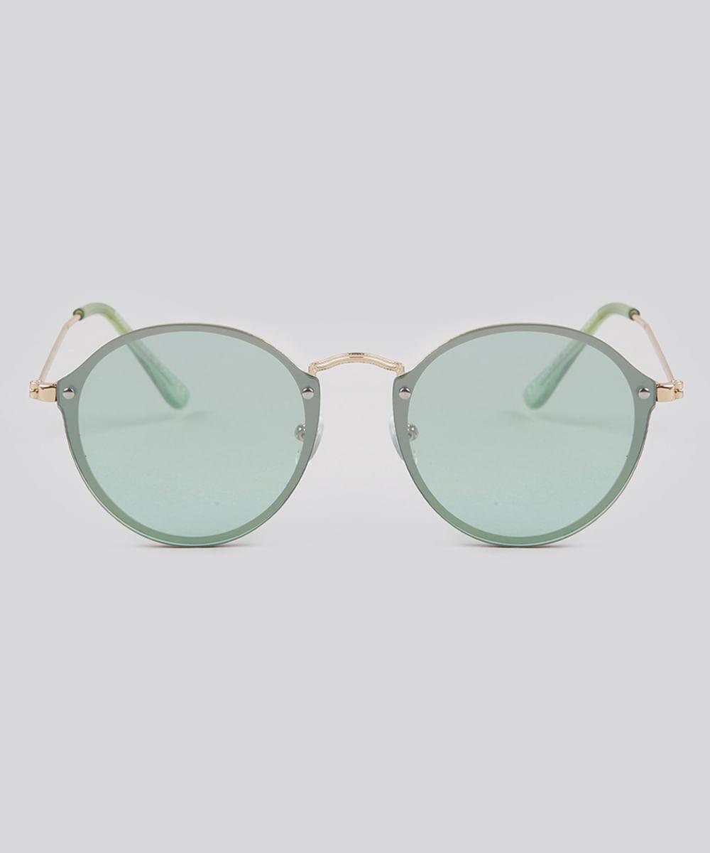 Óculos de Sol Redondo Feminino Oneself Verde - ceacollections 3c919cb900