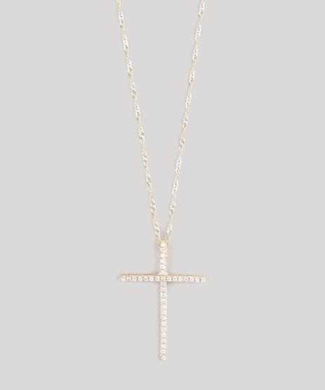 Colar-Feminino-Cruz-com-Strass-Dourado-9120326-Dourado_1