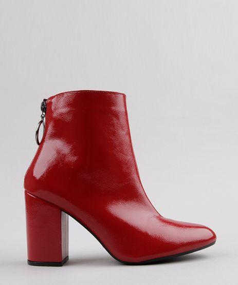 Bota-Feminina-em-Verniz-Com-Ziper-de-Argola-Cano-Curto-Vermelha-9081379-Vermelho_1