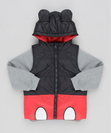 Blusao-Infantil-Mickey-Mouse-em-Moletom-Cinza-Mescla---Colete-Puffer-com-Capuz-de-Orelhinhas-Preto-8450445-Preto_1