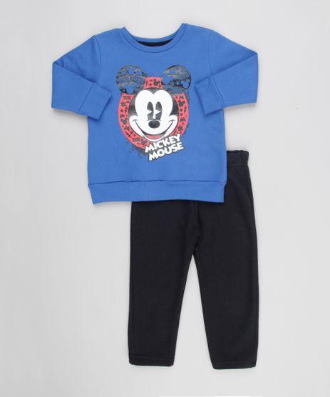Conjunto-Infantil-Mickey-de-Blusao-Azul-Royal---Calca-em-Moletom-Preta-8611944-Preto_1