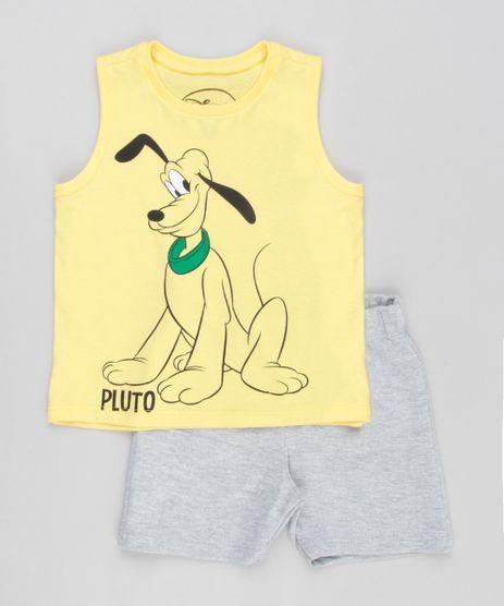 Conjunto-Infantil-de-Regata-Pluto-Amarela---Bermuda-em-Moletom-Cinza-Mescla-8962523-Cinza_Mescla_1