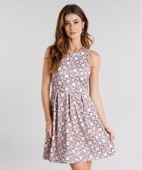 337c180de9 Vestido-Feminino-Curto-Estampado-Sem-Manga-Decote-Redondo- .