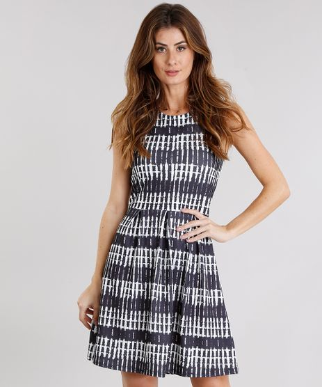 Vestido-Feminino-Curto-Estampado-Sem-Manga-Decote-Redondo-Preto-9114184-Preto_1
