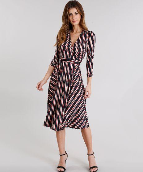 Vestido-Feminino-Envelope-Estampado-Geometrico-com-Decote-V-Transpassado-com-Amarracao-Preto-9114178-Preto_1
