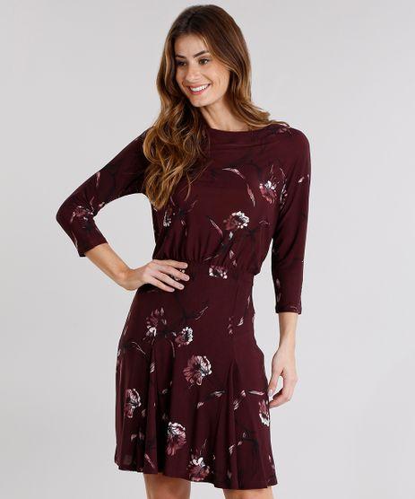 Vestido-Feminino-Estampado-Floral-Manga-Longa-Decote-Redondo-Vinho-9142735-Vinho_1