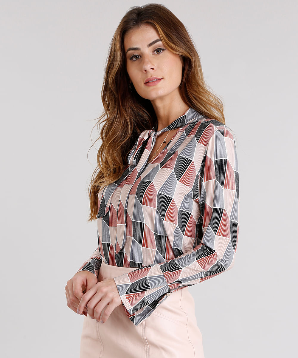 cbfede7c2 Blusa feminina estampada geométrica gola laço manga longa laranja jpg  1000x1200 Blusa feminina comprar camisa gola