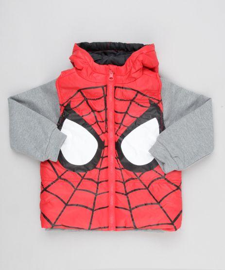 Blusao-Infantil-Homem-Aranha-em-Moletom-Cinza-Mescla---Colete-Puffer-com-Capuz-Vermelho-8861903-Vermelho_1