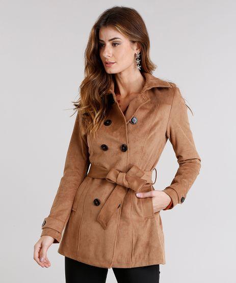 Casaco-Feminino-Trench-Coat-em-Suede-com-Faixa-Caramelo-8888640-Caramelo_1