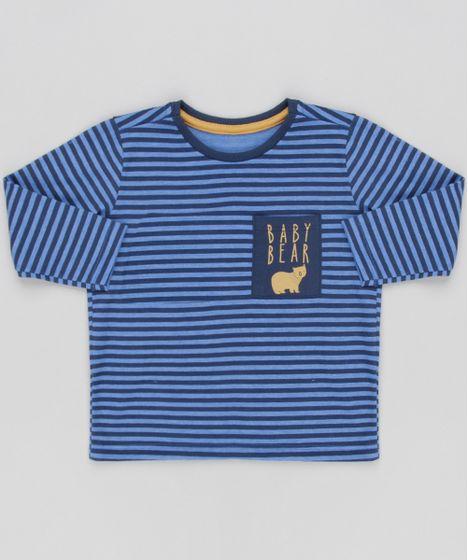 Camiseta Infantil Listrada com Bolso Manga Longa Gola Careca Azul ... e7ef239d18f42