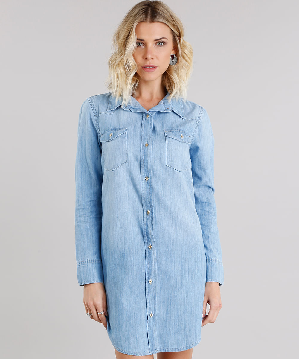 4d1d02b9f7 Vestido Jeans Feminino Chemise com Bolsos Manga Longa Azul Claro ...