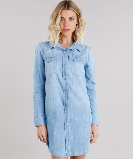 Vestido-Jeans-Feminino-Chemise-com-Bolsos-Manga-Longa-Azul-Claro-9148106-Azul_Claro_1