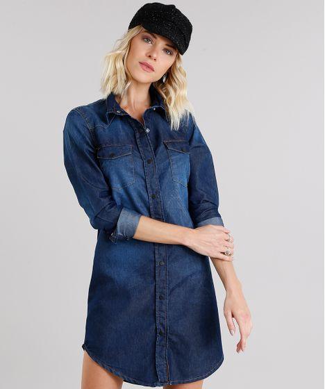 ae0afe594 Vestido Jeans Feminino Chemise com Bolsos Manga Longa Azul Escuro - cea