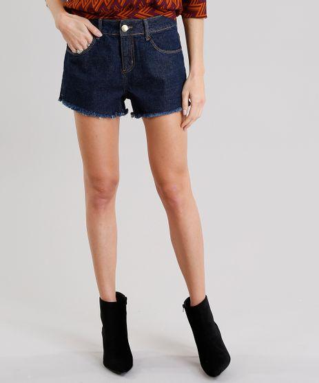 Short-Jeans-Feminino-Boyfriend-com-Barra-Desfiada-Azul-Escuro-9010644-Azul_Escuro_1