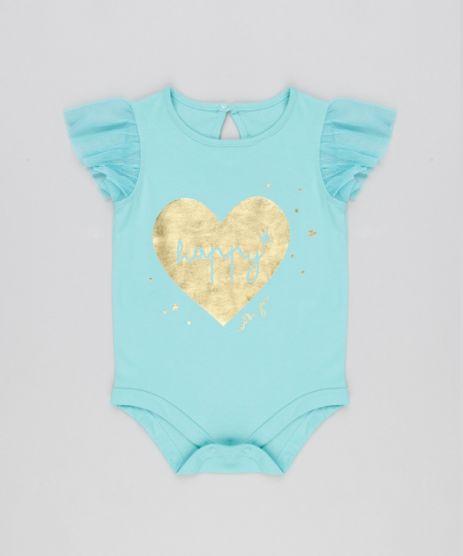 Body-Infantil--Happy--com-Tule-Decote-Redondo-em-Algodao---Sustentavel-Verde-Claro-8921822-Verde_Claro_1