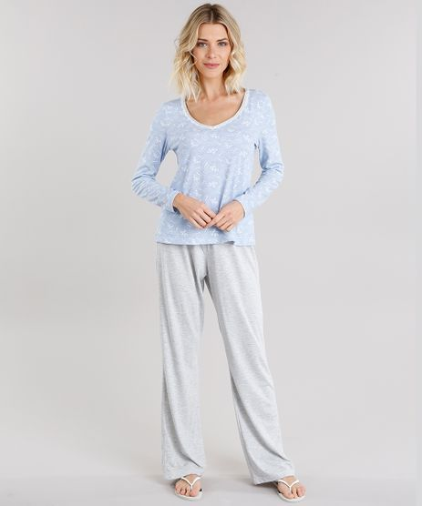 Pijama-Feminino-com-Estampa-Floral-Manga-Longa-Azul-Claro-9119110-Azul_Claro_1