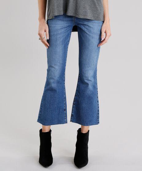 Calca-Jeans-Feminina-Cropped-Flare-Barra-Desfiada-Cintura-Alta-Azul-Escuro-9116264-Azul_Escuro_1