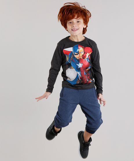 Camiseta-Infantil-Homem-de-Ferro-e-Capitao-America-Manga-Longa-Gola-Careca-Cinza-Mescla-Escuro-9043392-Cinza_Mescla_Escuro_1
