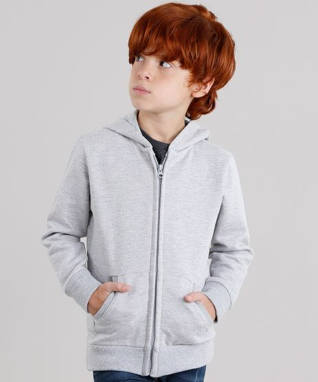 Blusao-Infantil-Basico-em-Moletom-com-Capuz-e-Bolso-Cinza-Mescla-Claro-8521449-Cinza_Mescla_Claro_1