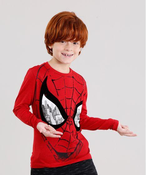 66e34f1b9 Camiseta Infantil Homem Aranha Manga Longa Gola Careca Vermelha - cea