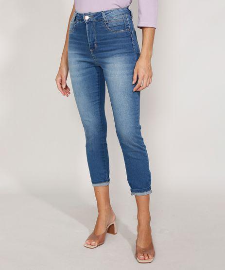 Calca-Jeans-Feminina-Cintura-Alta-Sawary-Cropped-Heart-Super-Lipo-com-Barra-Dobrada-Azul-Medio-9983858-Azul_Medio_1