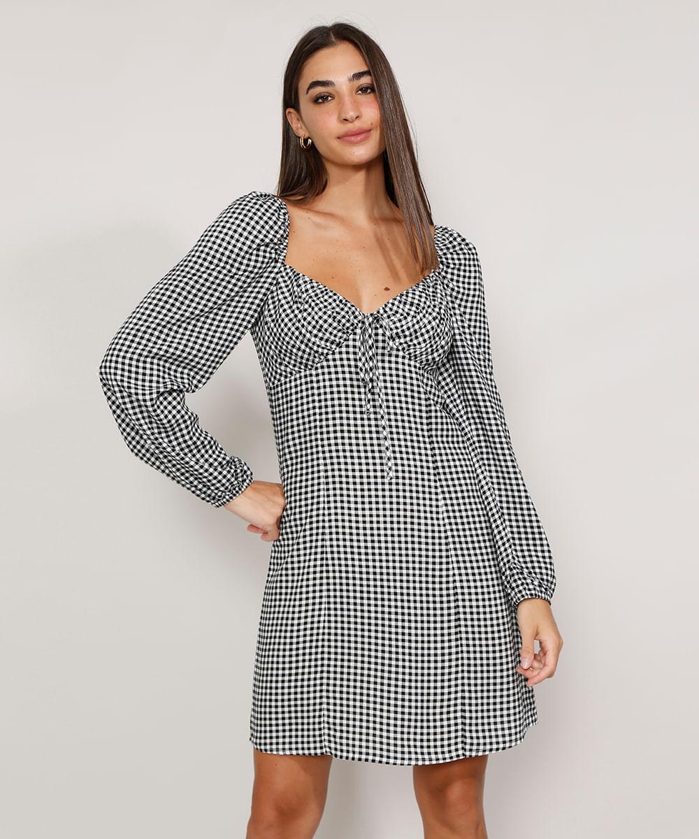 Vestido Feminino Curto Estampado Xadrez Vichy com Laço Manga Bufante Preto