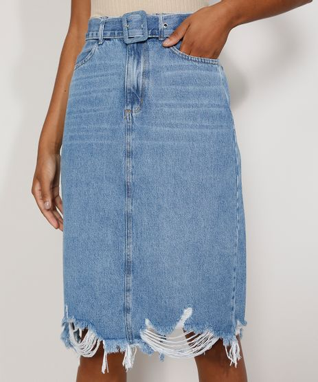 Saia-Jeans-Feminina-Midi-com-Barra-Destroyed-e-Cinto-Azul-Claro-9981854-Azul_Claro_1
