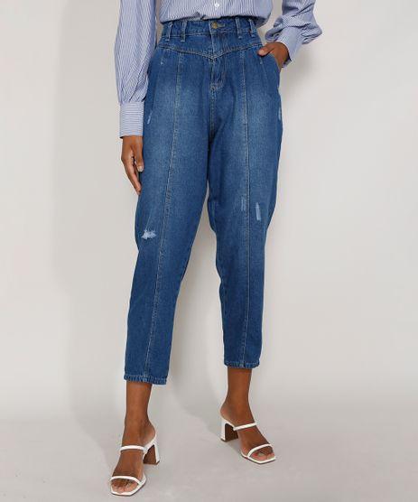 Calca-Jeans-Feminina-Cintura-Alta-Sawary-Baggy-com-Recortes-e-Puidos-Azul-Medio-9983846-Azul_Medio_1
