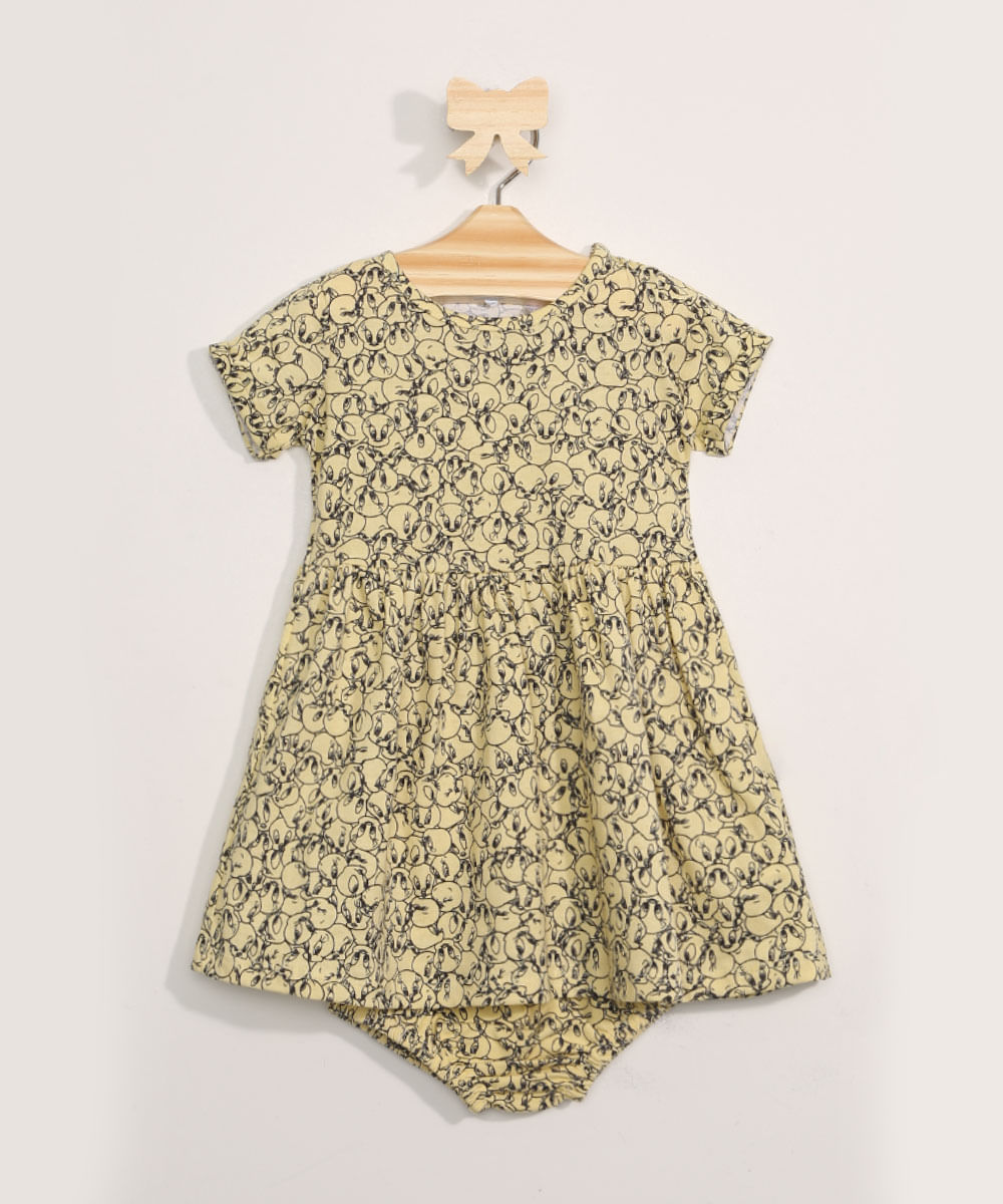 Vestido Infantil Estampado Piu-Piu + Calcinha Amarelo