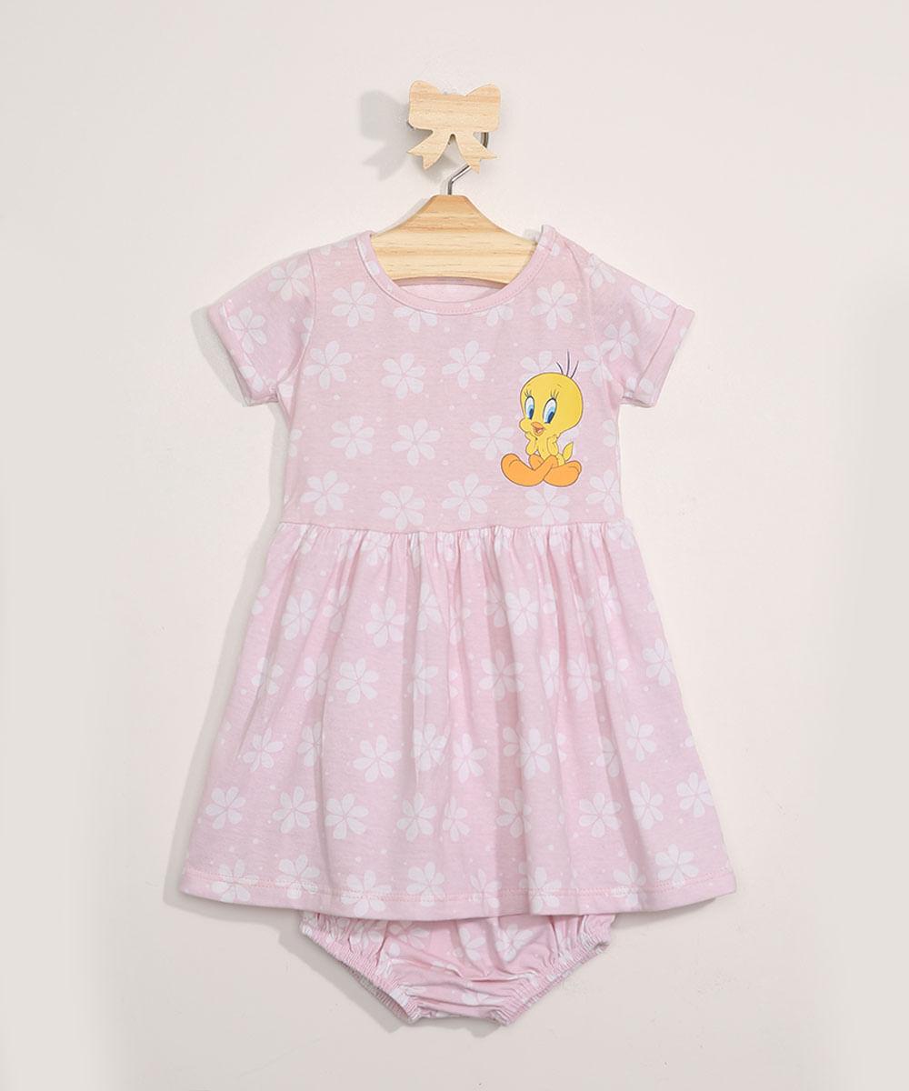 Vestido Infantil Estampado Floral Piu-Piu + Calcinha Rosa Claro