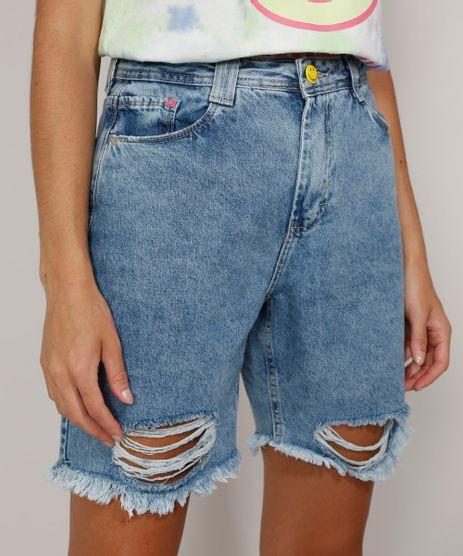 Bermuda-Jeans-Feminina-Smiley-Cintura-Super-Alta-Destroyed-Azul-Medio-9981702-Azul_Medio_1