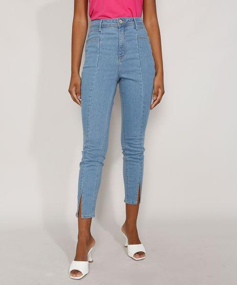 Calca-Jeans-Feminina-Cigarrete-Cintura-Super-Alta-com-Fenda-Azul-Medio-9986305-Azul_Medio_1