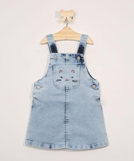 Salopete-Jeans-Infantil-Marmorizada-com-Bolso-e-Bordado-de-Gatinha-Azul-Claro-9978740-Azul_Claro_1