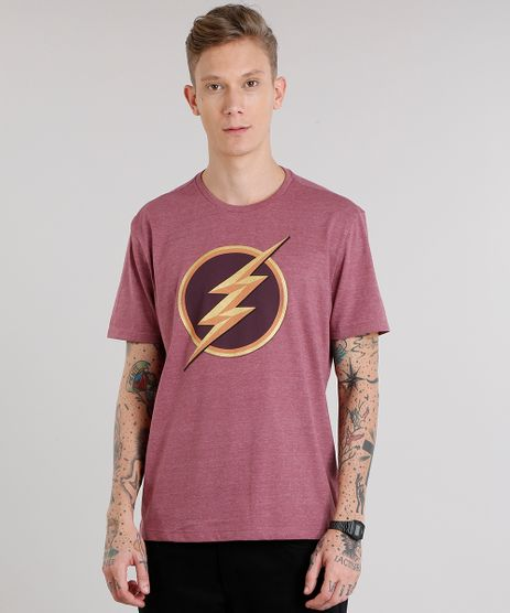 Camiseta-Masculina-The-Flash-Manga-Curta-Gola-Careca-Vinho-9149900-Vinho_1