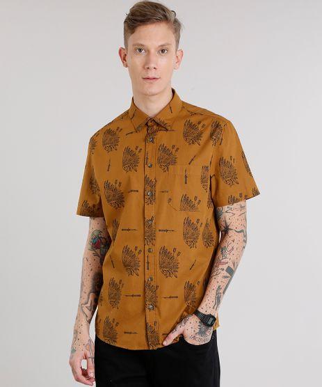 Camisa-Masculina-Estampada-Caveira-com-Bolso-Manga-Curta-Caramelo-8872859-Caramelo_1