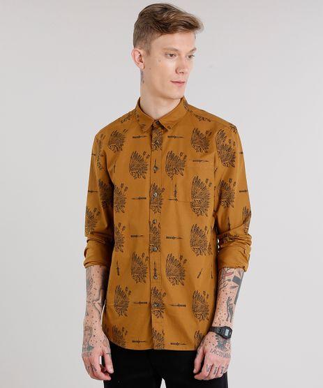 Camisa-Masculina-Estampada-Caveira-com-Bolso-Manga-Longa-Caramelo-8873904-Caramelo_1
