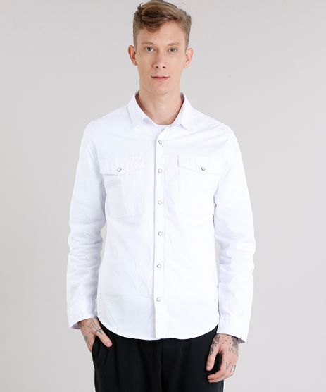 Camisa-Masculina-com-Bolsos-Manga-Longa-Branca-9123425-Branco_1