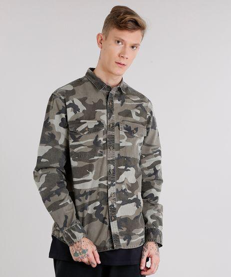 Camisa-Masculina-Estampada-Camuflada-com-Bolsos-Manga-Longa-Verde-Militar-8708025-Verde_Militar_1